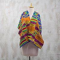 Cotton blend kente cloth scarf, 'Fathia Beauty' (17 inch width)