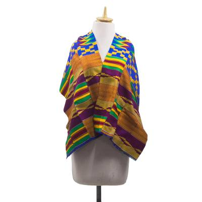 Cotton blend kente cloth scarf, 'Fathia Beauty' (17 inch width) - Handwoven Cotton Blend Kente Cloth Shawl (17 inch width)