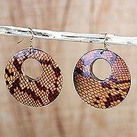 Wood dangle earrings, 'Anaconda' - Sese Wood Snakeskin Motif Dangle Earrings from Ghana