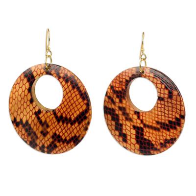 Wood dangle earrings, 'Anaconda' - Sese Wood Snakeskin Motif Dangle Earrings from Ghana