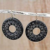 Wood dangle earrings, 'Beautiful Rings'