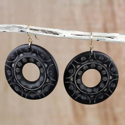 Wood dangle earrings, 'Beautiful Rings' - Handcrafted Round Sese Wood Dangle Earrings from Ghana