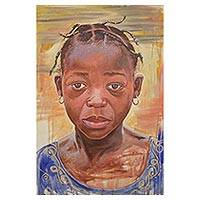 'Innocent Flash' - Original Signed Realist Painting of a Girl from Ghana