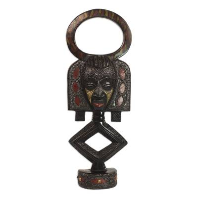 African Sese Wood and Aluminum Mask on Stand from Ghana