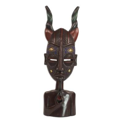 African Sese Wood Horned Mask on Stand from Ghana
