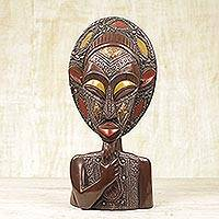 African wood and metal mask sculpture, 'Aburi Wisdom' - Wood and Metal African Mask of Thoughtful Bearded Man