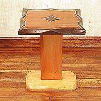 Teakwood accent table, 'Diamond Curves' - Teakwood Accent Table in Brown Colors Handcrafted in Ghana