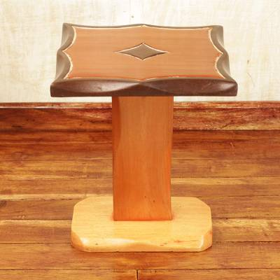 Teak wood accent table, 'Diamond Curves' - Teak Wood Accent Table in Brown Colors Handcrafted in Ghana