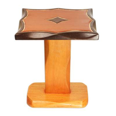 Teak Wood Accent Table in Brown Colors Handcrafted in Ghana