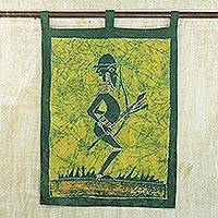 Batik wall hanging, 'Mystic Mamfe Hunter in Moss' - Batik Cotton Wall Hanging of an African Hunter in Moss
