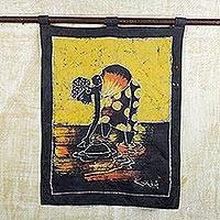 Batik wall hanging, 'Woman at the Lake' - Batik Cotton Wall Hanging of a Woman from Ghana