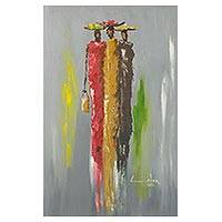 'Fruit Sellers' - Signed Expressionist Painting of Three Women from Ghana