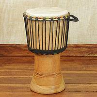 Wood djembe drum, 'Kente Melody' - Handcrafted Wood 18 Inch Djembe Drum from West Africa