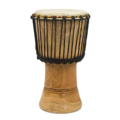 Handcrafted Wood 18 Inch Djembe Drum from West Africa