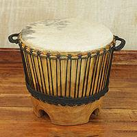 Wood drum, 'Ashiko' - West African Handcrafted Wood Ashiko Table Drum
