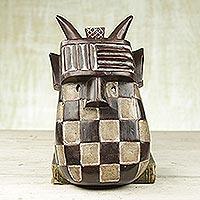 African wood mask, 'Toma Landai' - Artisan Hand Carved Sese Wood African Toma Landai Mask