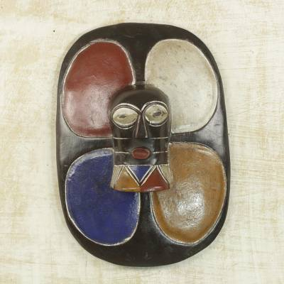 African wood mask, 'Colorful Shield' - Multicolor Hand Carved Sese Wood Guro Shield Mask from Ghana