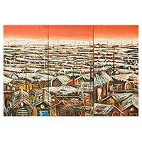 'Slum' (triptych) - Triptych Impressionist Paintings of a Village from Ghana