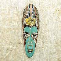 African wood mask, 'Blue Akoni' - Hand Carved Rubberwood Blue Akoni Warrior Mask from Ghana