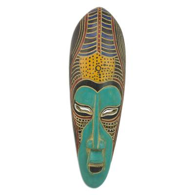 African wood mask, 'Blue Akoni' - Hand Carved Rubberwood Blue Akoni Warrior Mask from Ghana