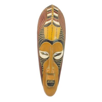African wood mask, 'Yellow Akoni' - Hand Carved Rubberwood Yellow Akoni Warrior Mask from Ghana