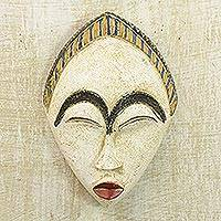 African wood mask, 'White Adesewa' - Artisan Hand Carved Sese Wood White Adesewa Beauty Mask