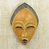 African wood mask, 'Orange Adesewa' - Orange and Black Hand Carved Sese Wood Adesewa Mask