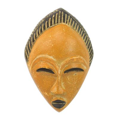 African wood mask, 'Orange Adesewa' - Orange and Black Hand Carved Sese Wood Adesewa Mask