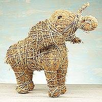 Rattan and raffia sculpture, 'Natural Elephant' - Handcrafted Natural Fiber Elephant Sculpture from Ghana