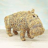 Rattan and raffia sculpture, 'Natural Hippo' - Handcrafted Natural Fiber Hippo Sculpture from Ghana
