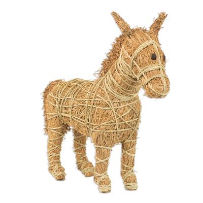 Handcrafted Natural Fiber Horse Sculpture from Ghana