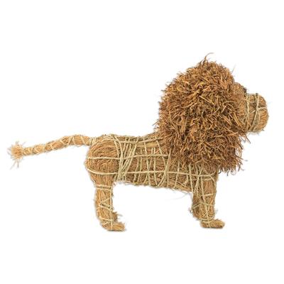 Handcrafted Natural Fiber Lion Sculpture from Ghana