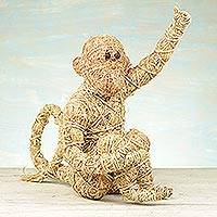 Rattan and raffia sculpture, 'Natural Monkey' - Handcrafted Natural Fiber Monkey Sculpture from Ghana
