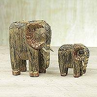 Wood statuettes, 'Tweben Me Elephants' - Two Sese Wood Antiqued Elephant Statuettes from Ghana