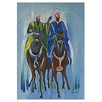 'Love Race' - Signed Impressionist Painting of a Horse Race from Ghana