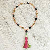 Cotton and recycled plastic pendant necklace, 'Caretaker' - Cotton and Recycled Plastic Pendant Necklace from Ghana