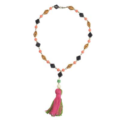 Cotton and Recycled Plastic Pendant Necklace from Ghana