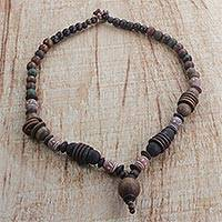 Wood and terracotta beaded necklace, 'Lucky Voyage' - Handmade Multi-Colored Beaded Necklace from West Africa