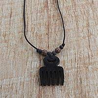 Ebony pendant necklace, 'Adinkra Comb' - Handmade Ebony Beaded Pendant Comb Motif Necklace from Ghana