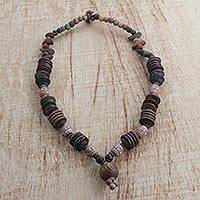 Terracotta and wood beaded necklace, 'Earthy Fusion' - Handmade Terracotta and Wood Beaded Necklace from Ghana