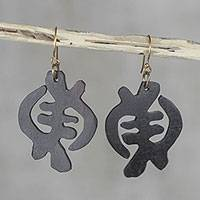 Wood dangle earrings, 'Fantastic Gye Nyame' - Sese Wood Adinkra Gye Nyame Dangle Earrings from Ghana