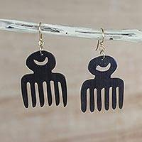 Wood dangle earrings, 'Adinkra Combs' - Comb-Shaped Sese Wood Adinkra Dangle Earrings from Ghana
