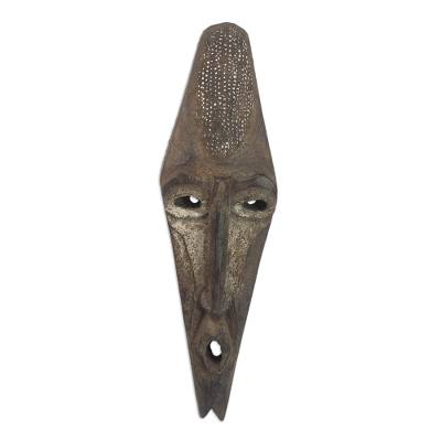 Artisan Hand Carved Agya Father Sese Wood Mask from Ghana