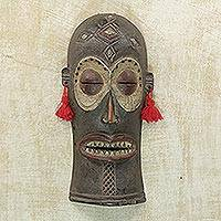 African wood mask, 'Chihongo' - Hand-Carved Chokwe Chihongo Sese Wood African Mask