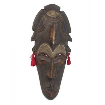 African wood mask, 'Blessings and Joy' - Hand Carved Sese Wood Nhyira Blessings Mask from Ghana
