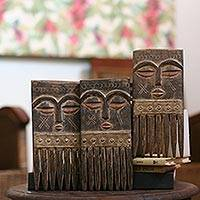 Wood combs, 'Ashanti Wisdom' (set of 3)