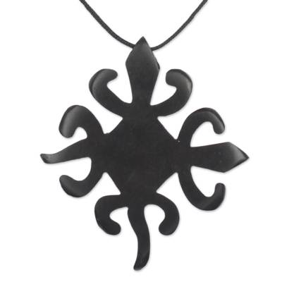 Hand Carved Sese Wood Adinkra Pendant Necklace from Ghana