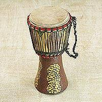 Wood djembe drum, 'Groundnut Shells' - Sese Wood Djembe Drum in Yellow and Brown from Ghana