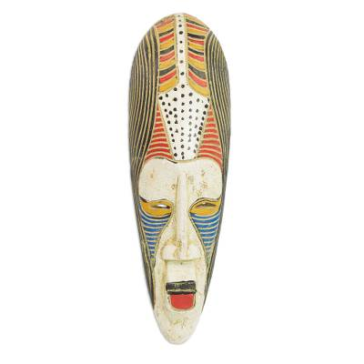 African wood mask, 'Ajala' - Hand Carved Rubberwood Ajala Victory Mask from Ghana