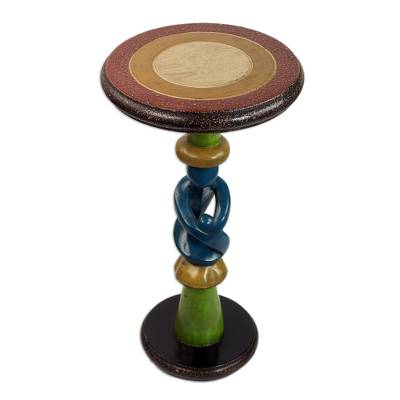 Wood accent table, 'Family Love' - Handcrafted Cedar Wood Family-Themed Accent Table from Ghana